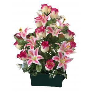 Jardinère en fleurs artificielles